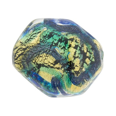 Aqua, Blue Aventurina Foil Galaxy, 23mm Pebble, Murano Glass Bead