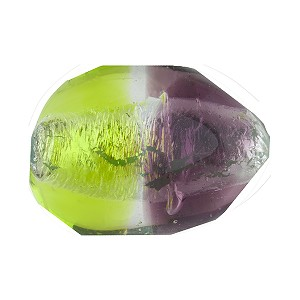 Peridot, Purple Sasso 23x20mm, Bicolor Sterling Silver Foil Murano Glass Bead