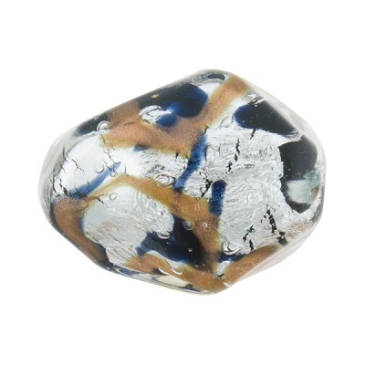 Black and Aventurina Foil Sospire, 23X20 Pebble, Murano Glass Bead