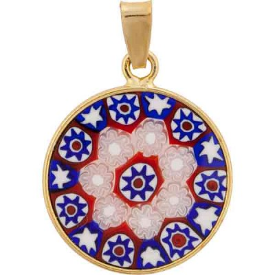 Millefiori Pendant Red, Blue and White Stars Vermeil Bezel