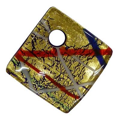 Gold Foil with Multi Lines 30mm Curved Diagonal Pendant, Murano Fused Glass