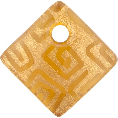 Topaz and Gold Foil Greek Key Fused Murano Glass Curved Diagonal Pendant 30mm