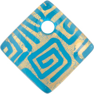 Aqua and Gold Foil Greek Key Fused Murano Glass Curved Diagonal Pendant 30mm