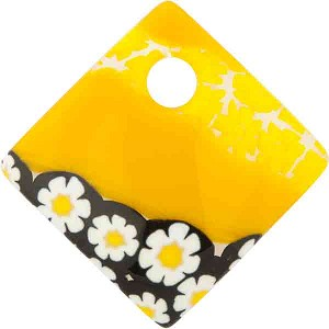 Murano Glass Curved Diagonal Pendant 30mm Yellow with White Daisies