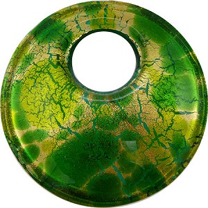 Green Frit Gold Curved Round Fused Pend 50mm