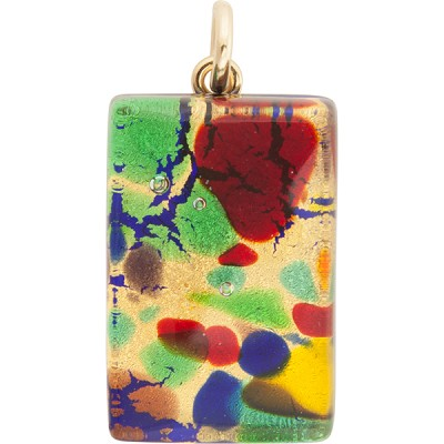 Gold Multi Colors 20x40mm Pendant W/Bail, Murano Fused Glass