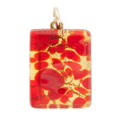 Red and Gold Colors 20x30mm Pendant W/Bail, Murano Fused Glass