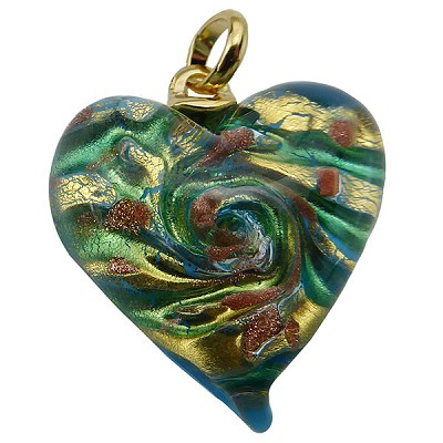 Aqua and Gold Aventurina Swirl Lampwork Murano Glass Heart Pendant