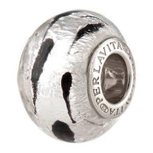 7f0c71c62c7c6 Black/Silver LaCrima Rondel 14mm Silver Insert Murano Glass Bead