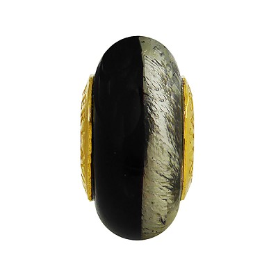 Black and Gray Bicolor Skinny Rondell Vermeil Insert, 14x8mm Murano Glass Charm Bead