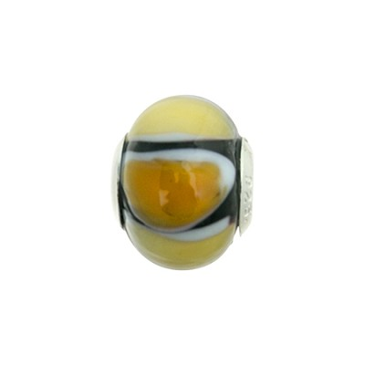 Topaz Shades Striped Large Hole Bead 4.2mm Murano Glass Silver Insert