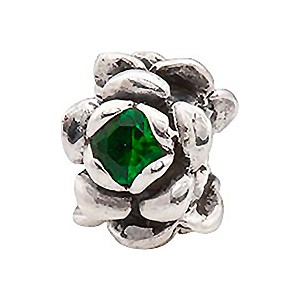 Blossoming Flower - May Sterling Silver Charm with Emerald Green Crystal, Large Hole