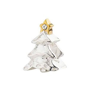 Crystal Tree, Sterling Silver with Gold Decorations Charm Bead, Large Hole