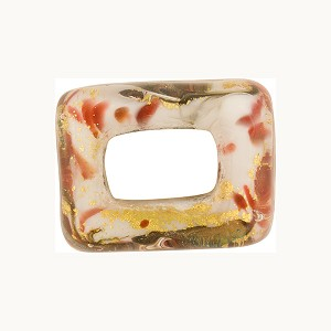 Large Hole Rectangular Bead for Regaliz, Red 24kt Gold Foil Marmo