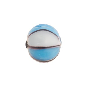Murano Glass Lampwork Bead Shades of Blue Balloon Stripes