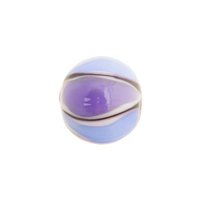 Murano Glass Lampwork Bead Blue and Purple Balloon Stripes