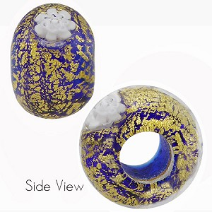 Cobalt Blue with White Daisy Ca'd'oro Rondell 15x10 6mm Hole Murano Glass Bead