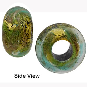 Green, Aventurina Gold Foil Rondelle 15x10mm 5mm Hole, Murano Glass Bead