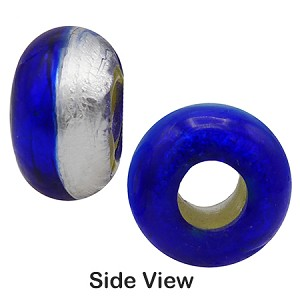 Blue and Silver Rondelle 15x10mm 6mm Hole, Murano Glass Bead