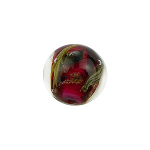 Murano Glass Bead, Base Rubino with Aventurina and Calcedonia 14mm Round