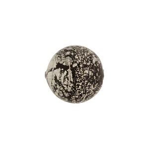 Murano Glass Ca'd'Oro 6mm Round Bead, Black with White Gold