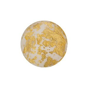 Murano Glass Ca'd'Oro 8mm Round Bead, Opaque White & Gold
