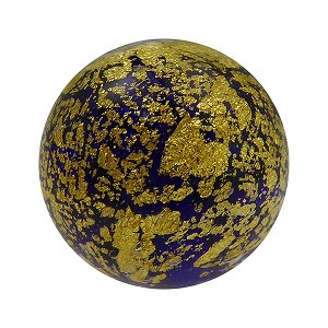 Cobalt Blue Ca'd'oro Gold Foil Round 14mm Murano Glass Bead