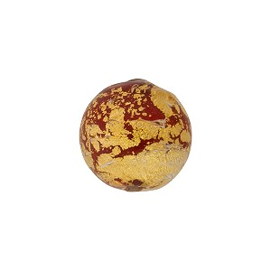 Opaque Red Ca'd'oro Gold Foil Round 14mm Murano Glass Bead