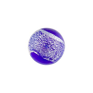Cobalt Silver Sparkler Dichroic Murano Glass Bead, Cabochon 1/2 Round, 12mm