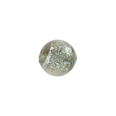 Steel Silver Sparkler Dichroic Murano Glass Bead, Round, 10mm