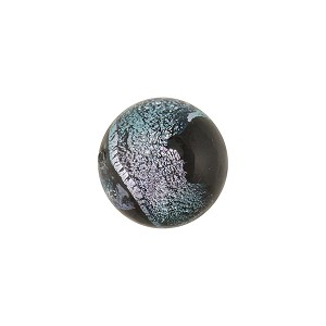 Black Silver Sparkler Dichroic Murano Glass Bead, Round, 12mm