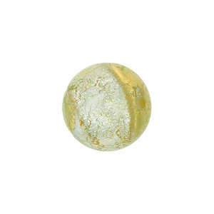 Murano Glass Bead 14mm Dichroic Sparkles Gold Foil Round Light Steel