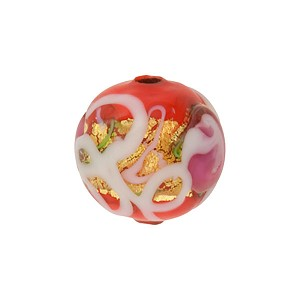 Opaque Red Wedding Cake Round 12mm Venetian Glass Bead