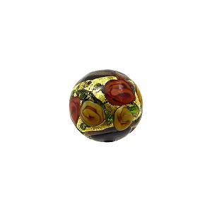 Murano Glass Bead Bed of Roses Exterior Gold Foil Round 10mm Black