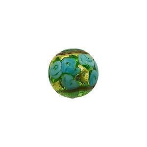 Murano Glass Bead Bed of Roses Exterior Gold Foil Round 10mm Transparent Aquamarine