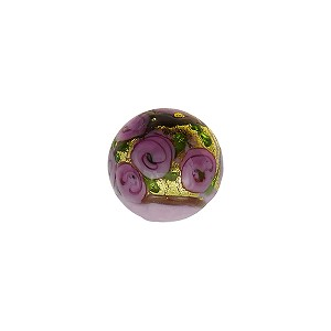 Murano Glass Bead Bed of Roses Exterior Gold Foil Round 10mm Opaque Pink