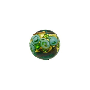 Murano Glass Bead Bed of Roses Exterior Gold Foil Round 10mm Verde Marino