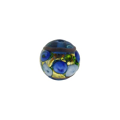 Murano Glass Bead Bed of Roses Exterior Gold Foil Round 10mm Blue