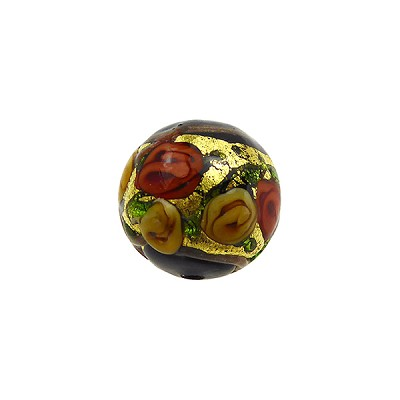 Murano Glass Bead Bed of Roses Exterior Gold Foil Round 12mm Black