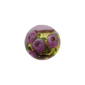 Murano Glass Bead Bed of Roses Exterior Gold Foil Round 12mm Opaque Pink