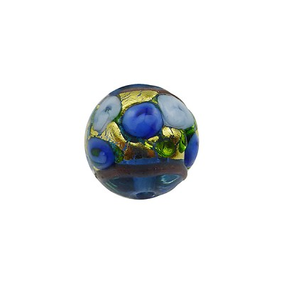 Murano Glass Bead Bed of Roses Exterior Gold Foil Round 12mm Transparent Blue
