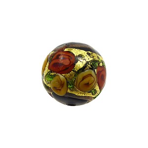 Murano Glass Bead Bed of Roses Exterior Gold Foil Round 14mm Black