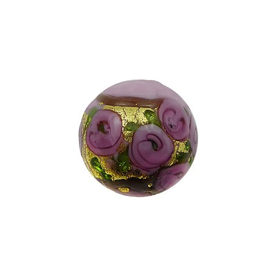 Murano Glass Bead Bed of Roses Exterior Gold Foil Round 14mm Opaque Pink