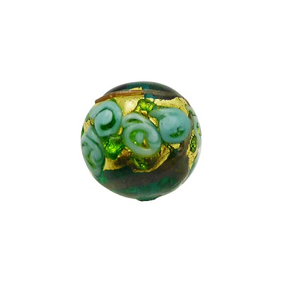 Murano Glass Bead Bed of Roses Exterior Gold Foil Round 14mm Transparent Verde Marino
