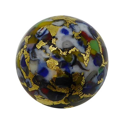 Black Base KLIMT Round 16mm Exterior Gold Foil with Mosaics Murano Glass Bead
