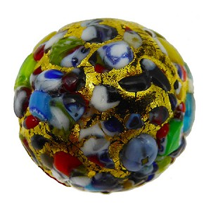 Black Base KLIMT Round 20mm Exterior Gold Foil with Textured Mosaics Murano Glass Bead