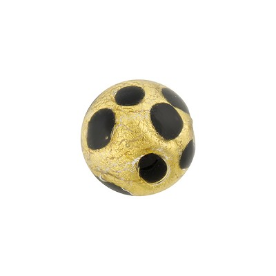 Chocolate Leopard 14mm Round Gold Foil Large Dots Murano Glass Bead