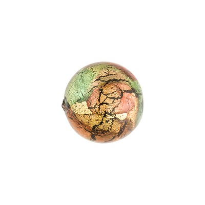 Multi Colors 24k Gold Foil Machiavelli Murano Glass Bead, Round 12mm