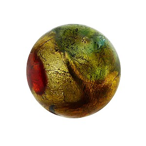 Bright Multi Colors 24k Gold Foil Machiavelli Murano Glass Bead, Round 12mm