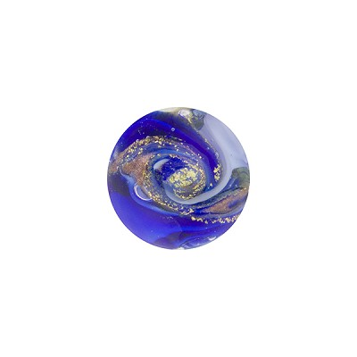 Blue and Cobalt with Aventurina and 24kt Gold Foil Mare Round 12mm Murano Glass Bead